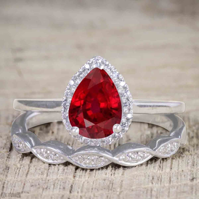 Beautiful 2 Carat Pear cut Ruby and Diamond Halo Wedding Ring Set in White Gold