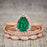 Affordable Antique Artdeco 2.25 Carat Pear Emerald and Diamond Halo Wedding Trio Ring Set in Rose Gold