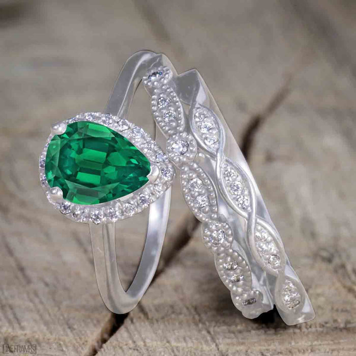 2 Carat Pear cut Emerald and Diamond Bridal Set with semi eternity wedding band in White Gold