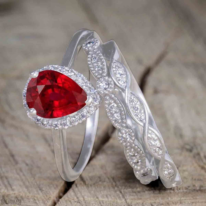 Antique Vintage 2 Carat Pear cut Ruby and Diamond Halo Wedding Ring Set for Women in White Gold