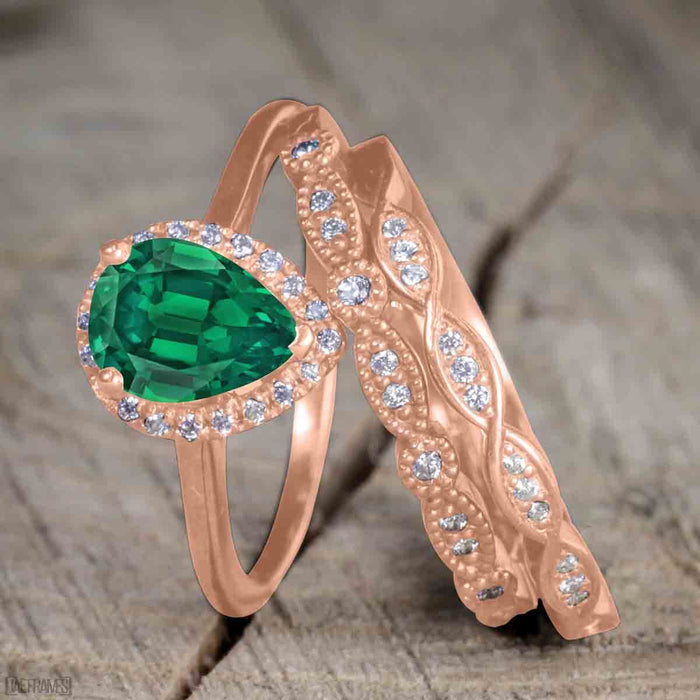 2 Carat Pear cut Emerald and Diamond Bridal Set with semi eternity wedding band in Rose Gold