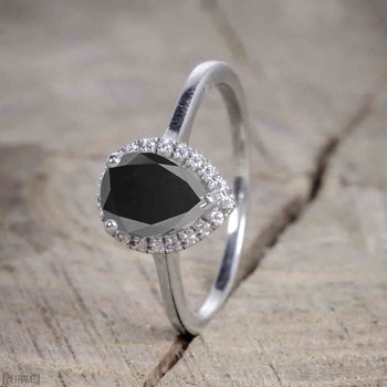Antique Vintage 1.25 Carat Pear cut Black Diamond Halo Engagement Ring for Women in White Gold
