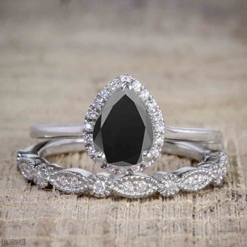 Unique 1.50 Carat Pear Cut Black Diamond Halo Wedding Ring Set for Her in White Gold