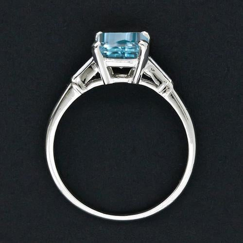 2 Carat Emerald Cut Aquamarine and Baguette Cut Diamond Engagement Ring in White Gold