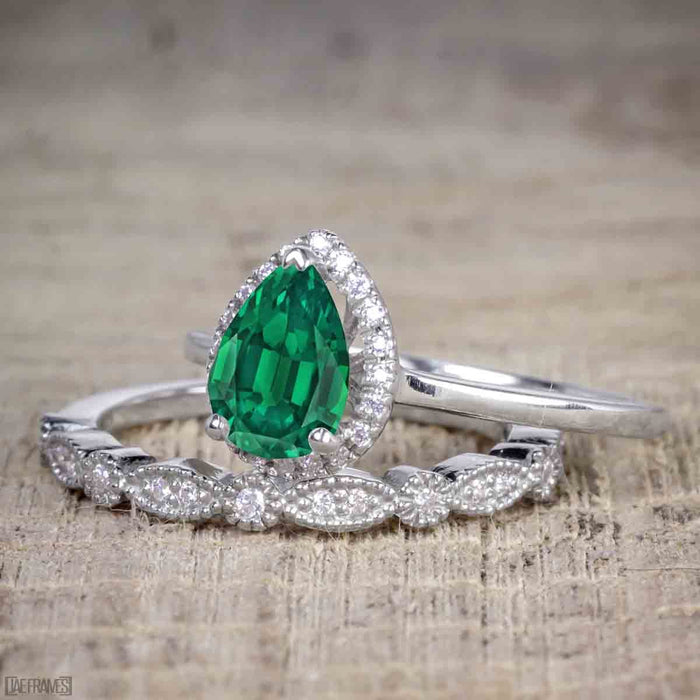 Affordable 2 Carat Pear cut Emerald and Diamond Antique Wedding Ring Set in White Gold