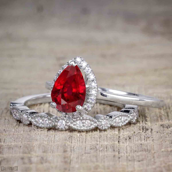 Antique Vintage 1.25 Carat Pear cut Artdeco Halo Engagement Ring with Ruby and Diamond for Her in White Gold