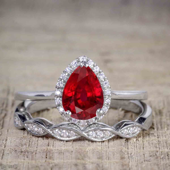 Bestselling 2.50 Carat Pear cut Ruby and Diamond Halo Trio Wedding Bridal Ring Set in White Gold