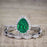 Affordable 2.50 Carat Pear cut Emerald and Diamond Antique Wedding Trio Ring Set in White Gold