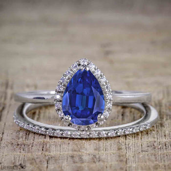 Unique 1.50 Carat Pear Cut Sapphire and Diamond Halo Wedding Ring Set for Her in White Gold