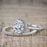 Unique 2 Carat Pear Cut Moissanite and Diamond Halo Wedding Ring Set for Her in White Gold