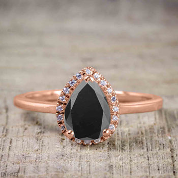 Affordable 1.25 Carat Pear Cut Black Diamond Antique Engagement Ring in Rose Gold