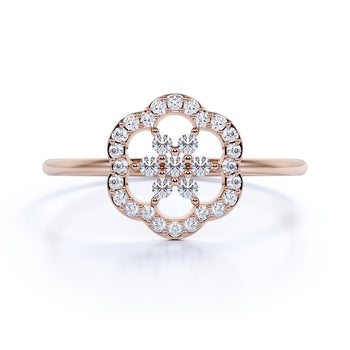Camellia Flower Stacking Ring with Round Diamonds in Rose Gold