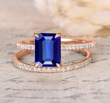 1.50 Carat Emerald Cut Blue Sapphire and Diamond Bridal Set in Rose Gold: On Limited Time Sale: