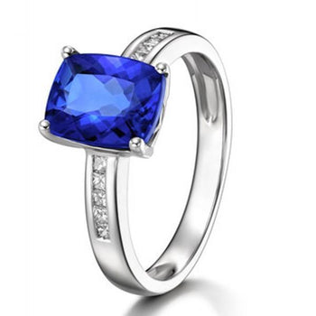 1.50 Carat Emerald Cut Blue Sapphire and Diamond Classic Engagement Ring