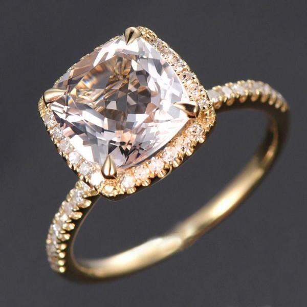 1.50 Carat Cushion Cut Pink Morganite and Diamond Halo Engagement Ring in 9k Gold