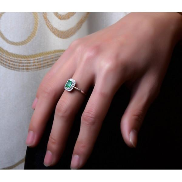 1.50 Carat Emerald and Diamond double Halo Engagement Ring