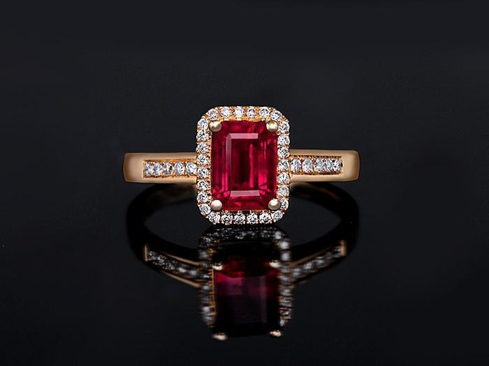 1.50 Carat Emerald Cut Ruby and Diamond Engagement Ring