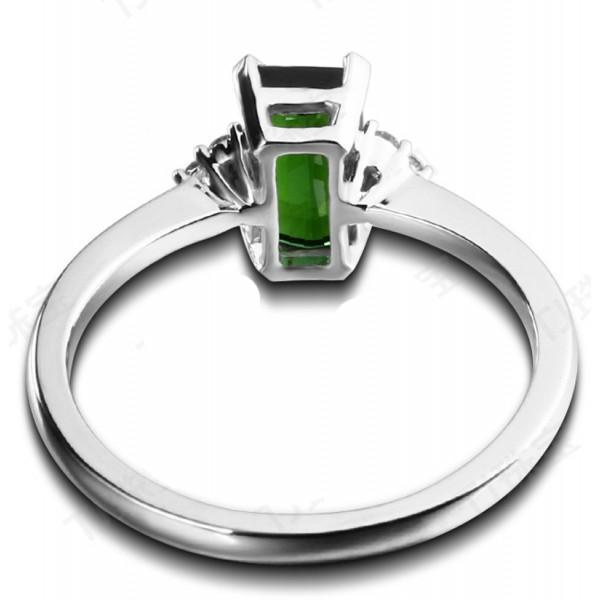 1.50 Carat Green Emerald and Diamond Engagement Ring