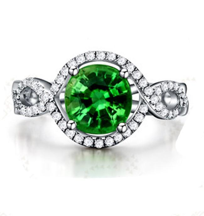 1.50 Carat Infinity Emerald and Diamond Halo Engagement Ring
