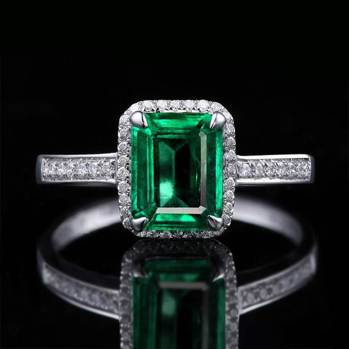 1.50 Carat princess cut Emerald and Diamond Halo Engagement Ring