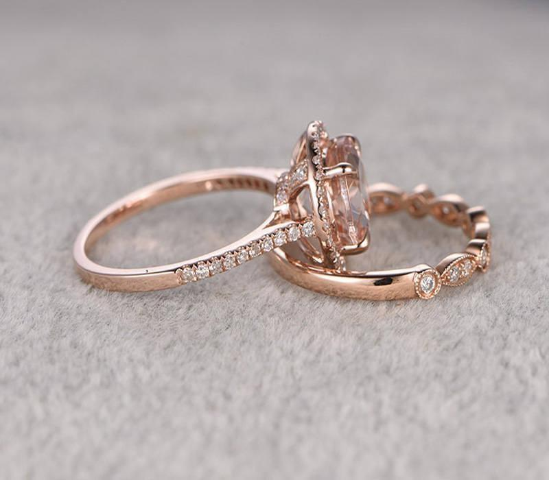 1.50 carat Round Cut Morganite and Diamond Halo Bridal Set in 9k Rose Gold: Bestselling Design Under Dollar 500
