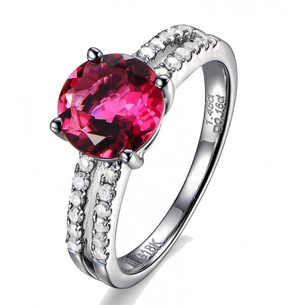 1.50 Carat Ruby and Diamond Engagement Ring