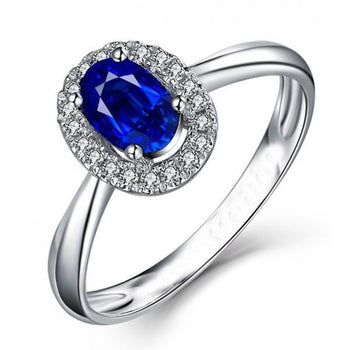 1.50 Carat Oval Cut Sapphire and Diamond Halo Engagement Ring