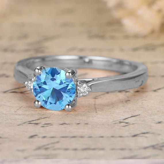 Perfect 1.50 Carat Round Cut Aquamarine and Diamond Engagement Ring in White Gold