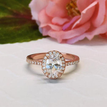 Beautiful 1.5 Carat Oval Cut Halo Engagement Ring in Rose Gold over Sterling Silver