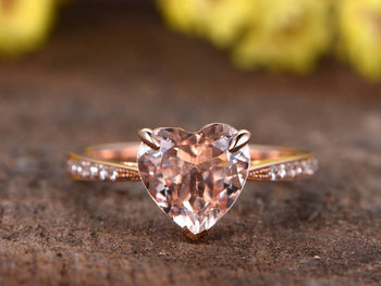 1.25 Carat Heart Shape Morganite and Diamond Engagement Ring in Rose Gold