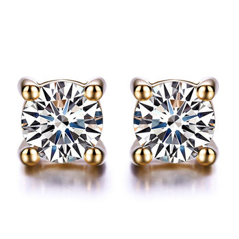 .20 Carat Round Cut Diamond Solitaire Stud Earrings in Yellow Gold