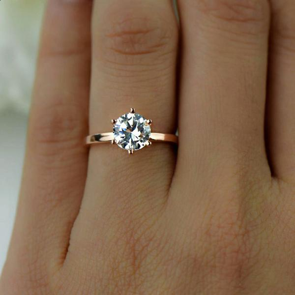 Final Sale: 1.5 Carat Round Cut Six Prong Solitaire Engagement Ring in Rose Gold over Sterling Silver