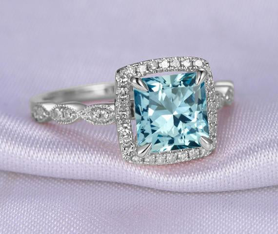 Antique Design 1.50 Carat Princess Cut Aquamarine and Diamond Engagement Ring in White Gold