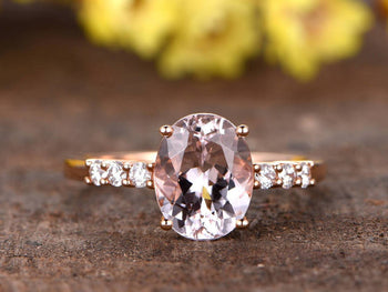 7 Stone 1.25 Carat Oval Cut Morganite and Diamond Engagement Ring in Rose Gold