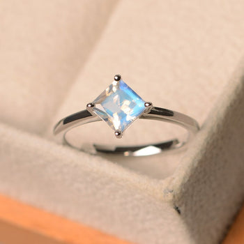 4 Prong 1.25 Carat Princess Cut Blue Moonstone Solitaire Engagement Ring in White Gold