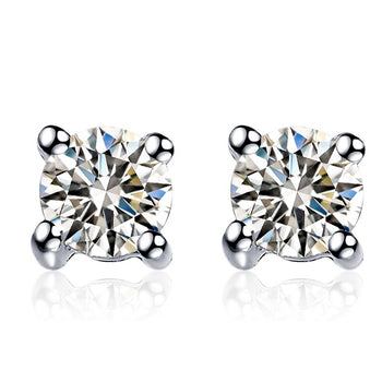 .20 Carat Round Cut Diamond Solitaire Stud Earrings in White Gold