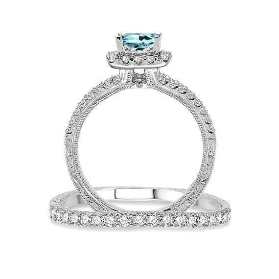 2 Carat Split Shank Princess Cut Aquamarine and Diamond Halo Bridal Ring Set in White Gold