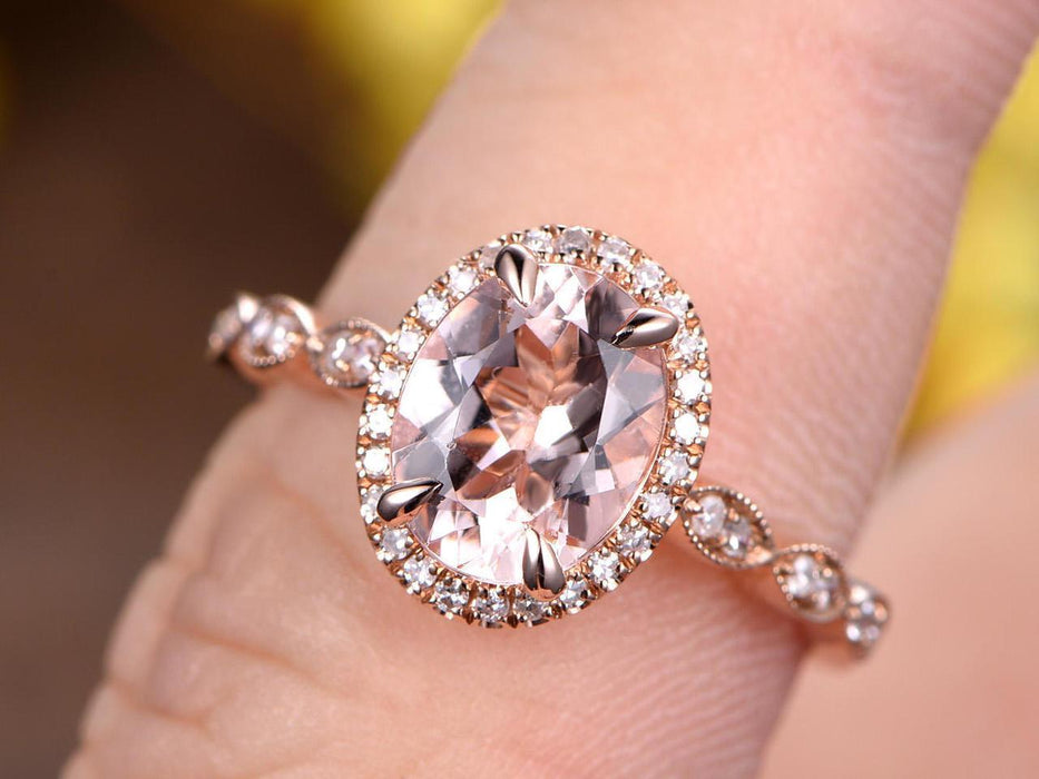 2 Carat Huge Oval Cut Morganite and Diamond Engagement Ring in Rose Gold