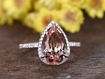 Limited Time Sale 1.50 Carat Pear Cut Morganite and Diamond Halo Engagement Ring in White Gold