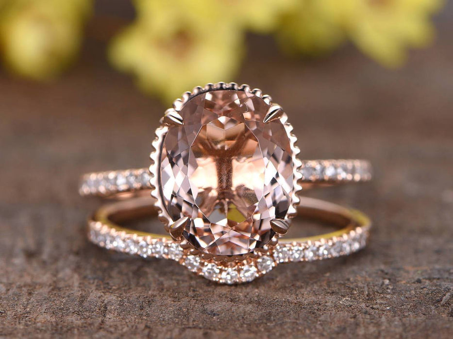 Perfect Matching 2 Carat Oval Cut Morganite and Diamond Bridal Ring Set in Rose Gold