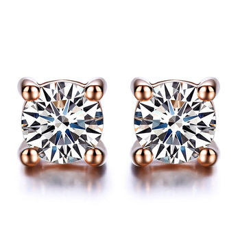 .20 Carat Round Cut Diamond Solitaire Stud Earrings in Rose Gold