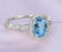 Lovely 1.50 Carat Round Cut Aquamarine and Diamond Halo Engagement Ring for Her in White Gold