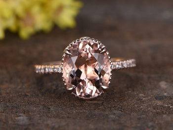 Antique 1.50 Carat Oval Cut Morganite and Diamond Engagement Ring in Rose Gold