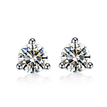 .33 Carat Round Cut Diamond 3 Prong Stud Earrings in White Gold