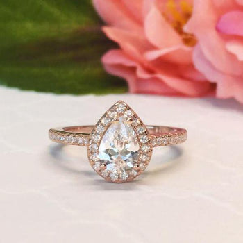 Classic 1 Carat Pear Cut Halo Engagement Ring in Rose Gold over Sterling Silver