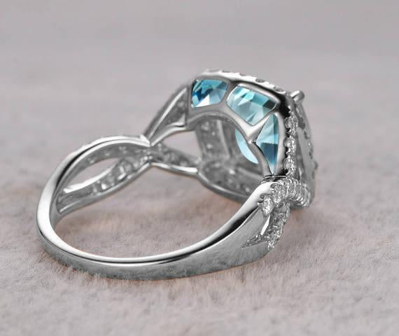 Superb 1.50 Carat Aquamarine and Diamond Halo Engagement Ring in White Gold
