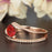 1.5 Carat Round Cut Ruby and Diamond Wedding Ring Set in 9k Rose Gold Glamorous Ring