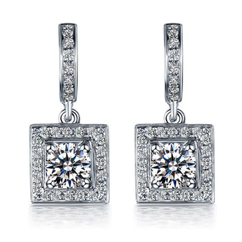 Cluster 2.25 Carat Princess Cut Moissanite and Diamond Drop Stud Earrings in White Gold