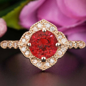 Vintage 1.25 Carat Round Cut Ruby and Diamond Engagement Ring in 9k Rose Gold