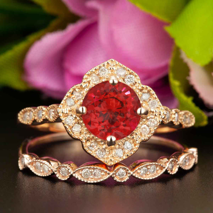 Vintage 1.5 Carat Round Cut Ruby and Diamond Wedding Ring  Set in 9k Rose Gold